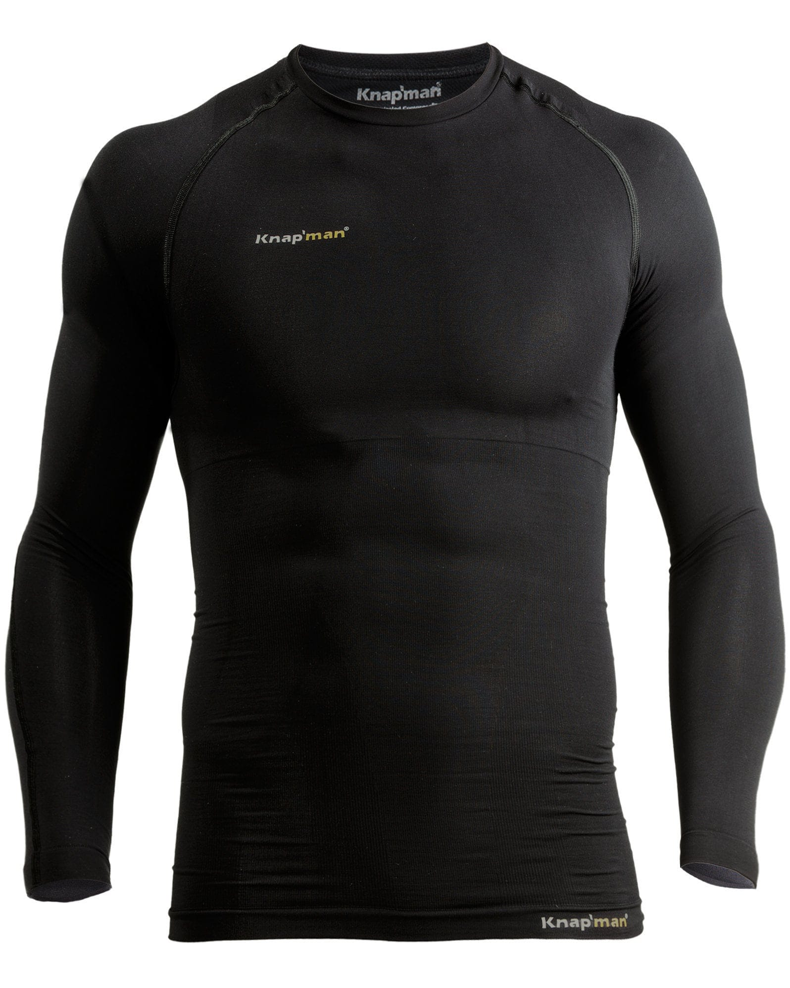Knap'man Long Sleeve Compression Shirt UltraThin Crew Neck Black
